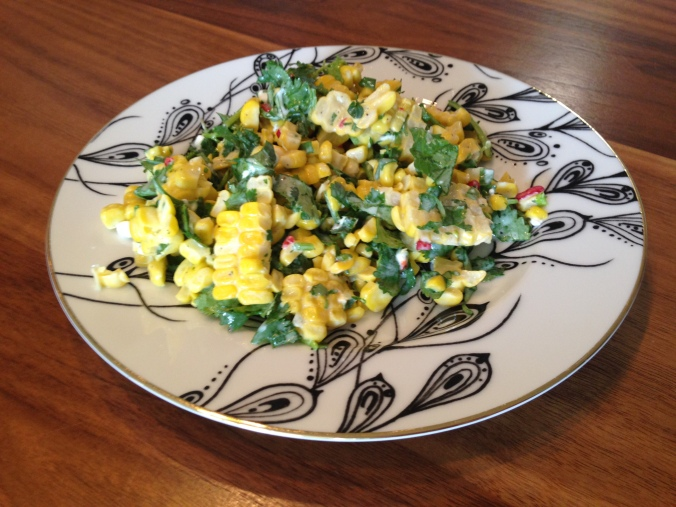 Spicy Corn, Cilantro, Goat Cheese and Mint Salad