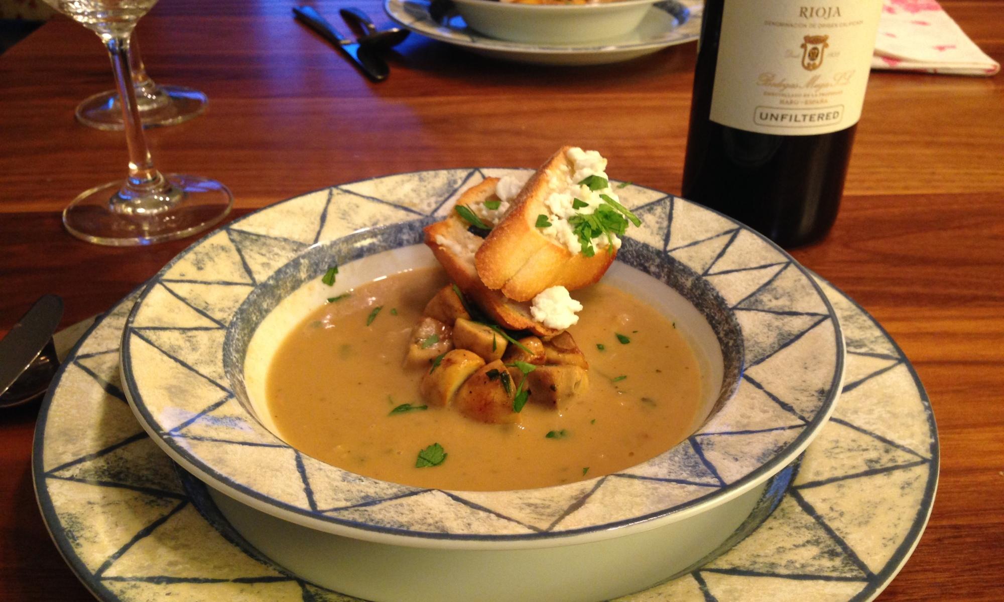 Cream of Mushroom and White Bean Soup