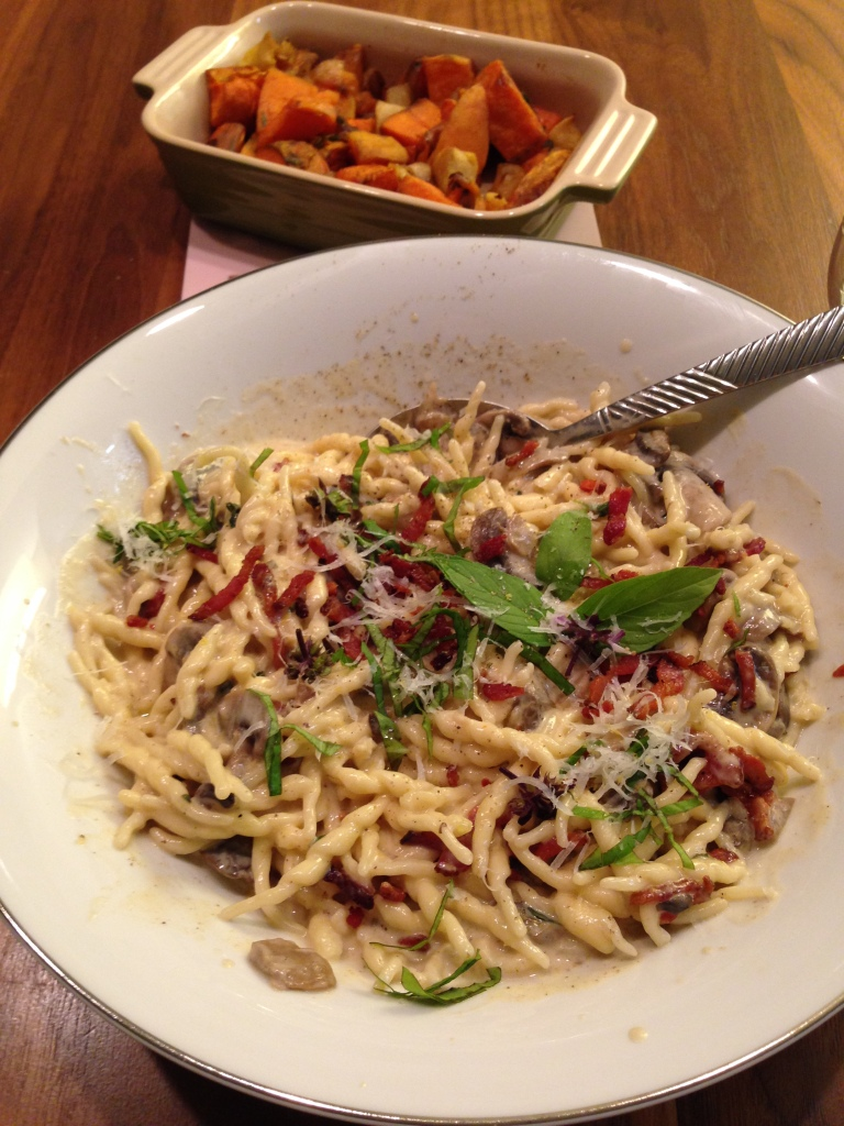 Dirty Vicar Pasta with a Side of Roasted Squash