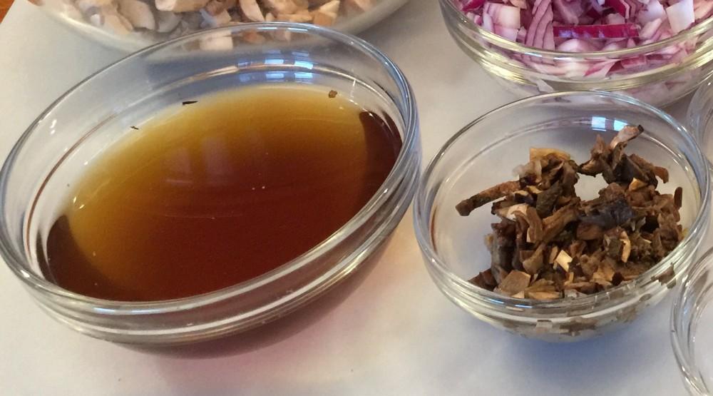 Hydrated Mushrooms + Broth