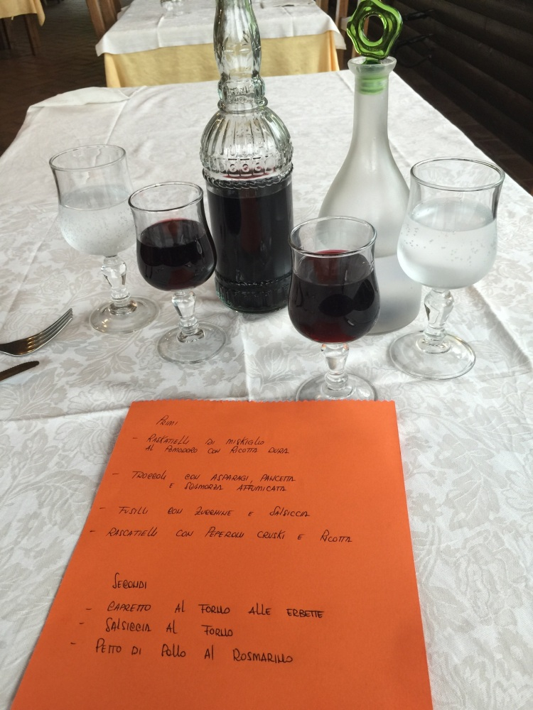 Handwritten Menu and Red Table Wine