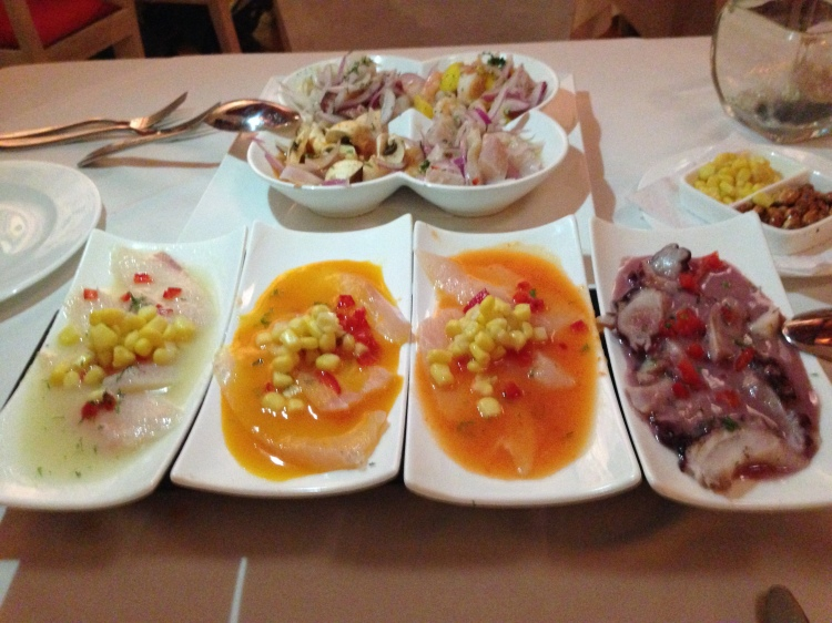 Tiradito and Ceviche Samplers at Brujas de Cartagena