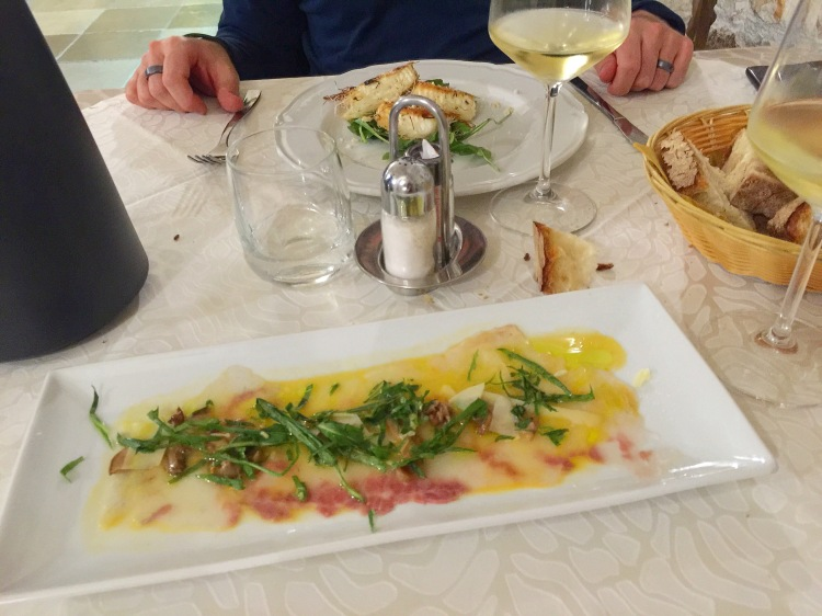 Fresh Carpaccio with Mushrooms and Rocket