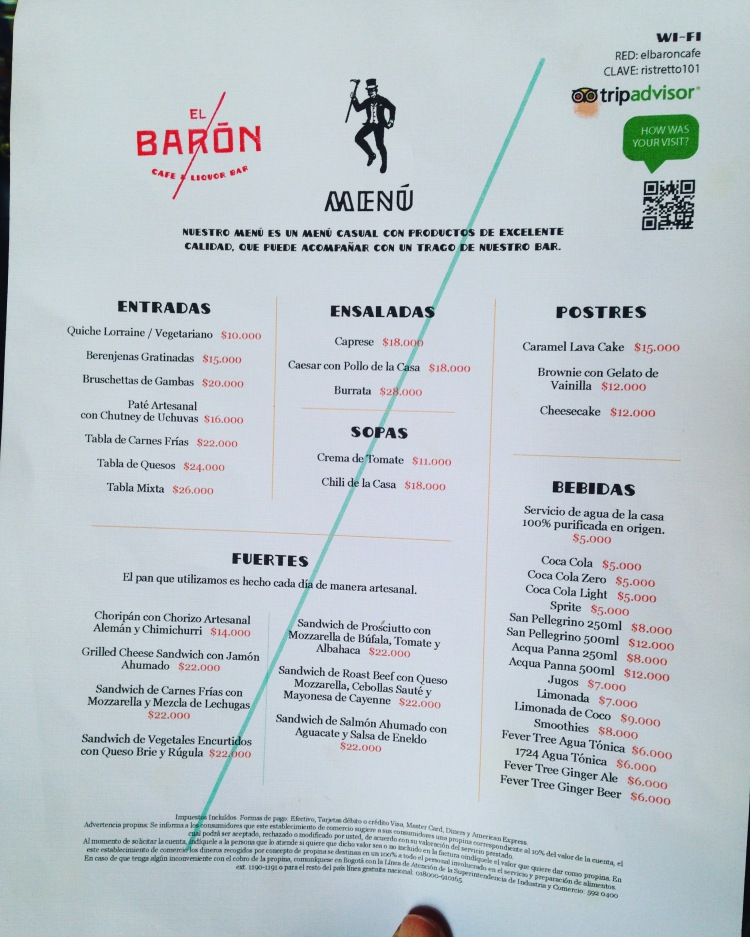 Menu at El Baron Cartagena