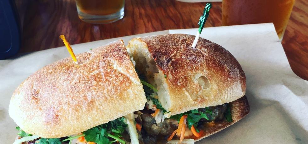 Pork Meatball Banh Mi sandwich