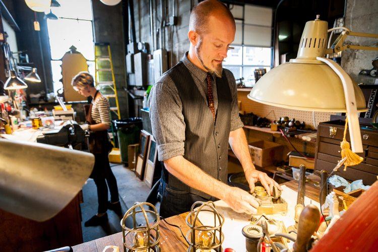 Owner Bret Hodgert in Old Portland's Workshop