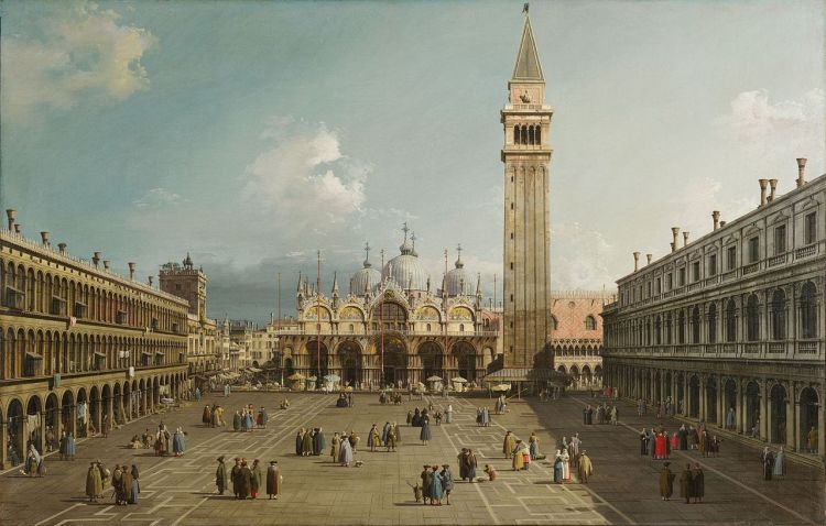 Piazza San Marco with the Basilica by Canaletto,_1730. (Fogg Art Museum, Cambridge)