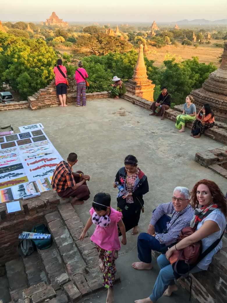 Papà Braving Heights in Bagan, Myanmar
