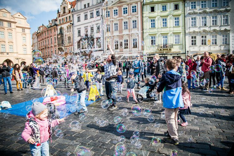 Bubbles Blowing over Old Town Square Prague