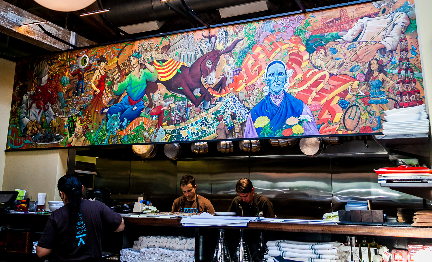 Mural on Ataula Above Kitchen with Chef José Chesa
