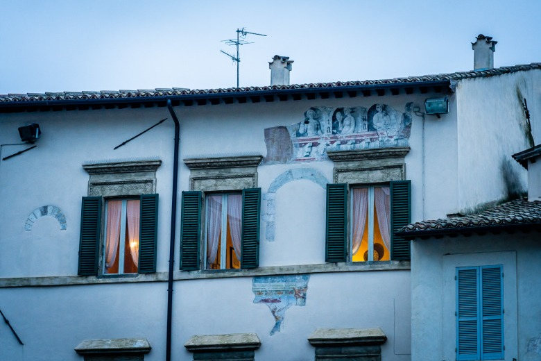 Frescos on a home in Spoleto Italy