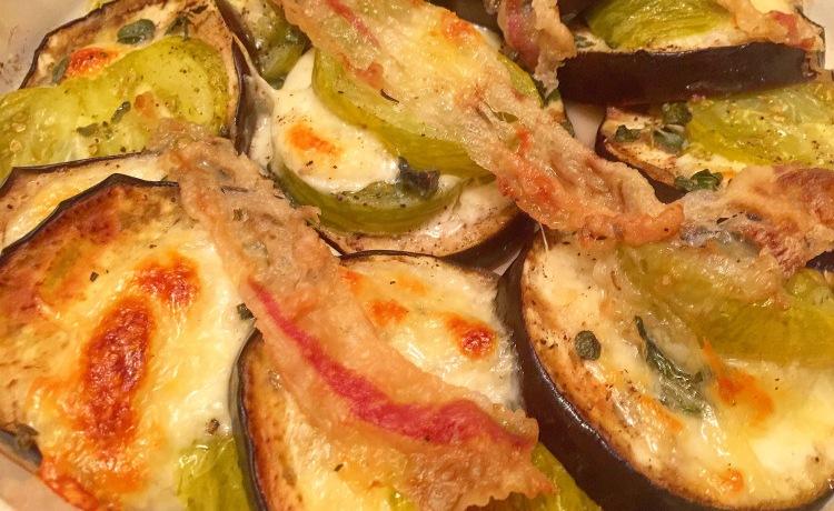 Eggplant, Heirloom Tomato & Mozzarella Stacks Roasted with Lardo and Fresh Herbs