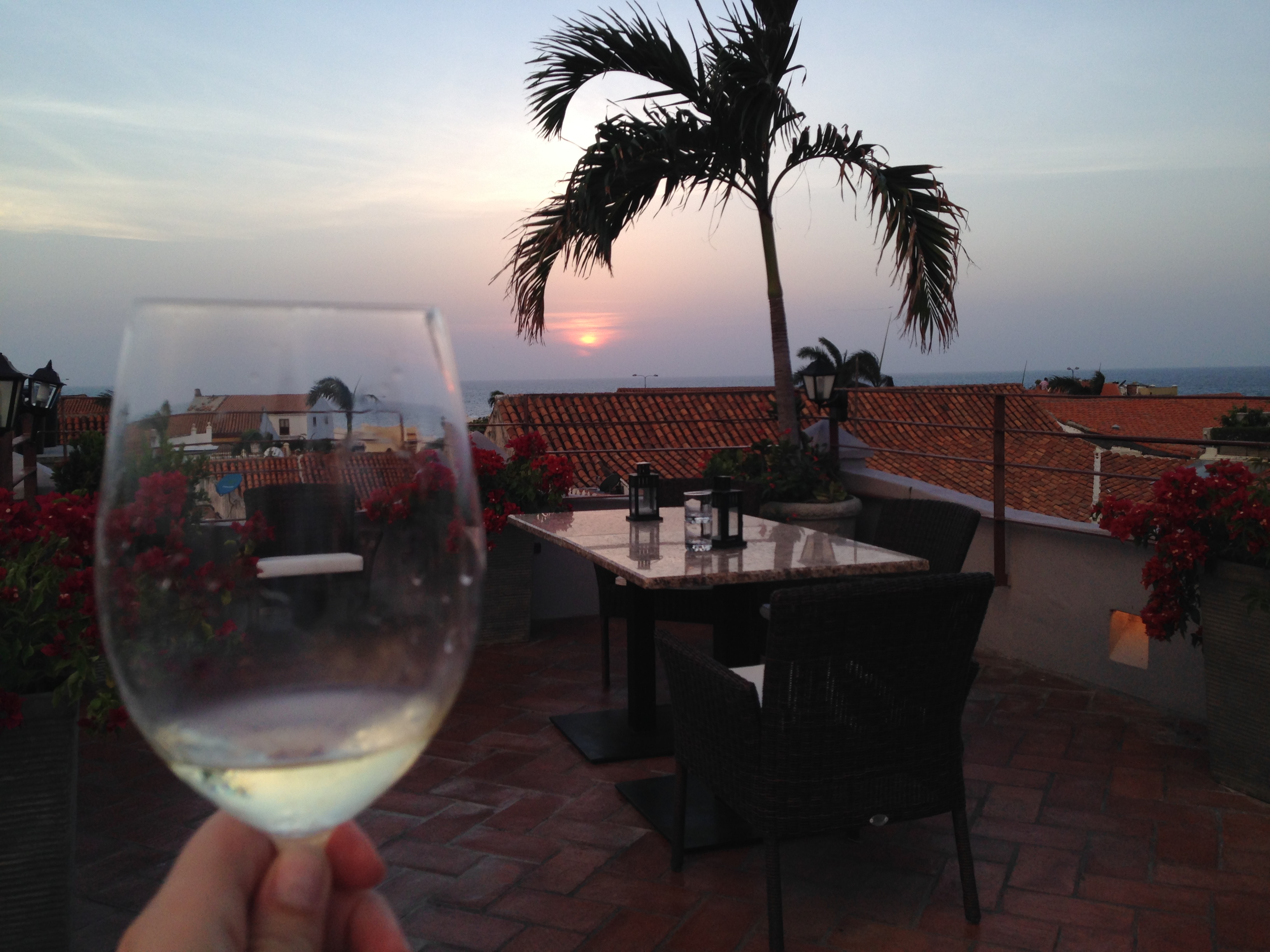 Sunset on the rooftop of Hotel Ananda