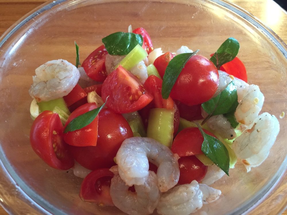 Prep for Baked Shrimp with Hungarian Peppers