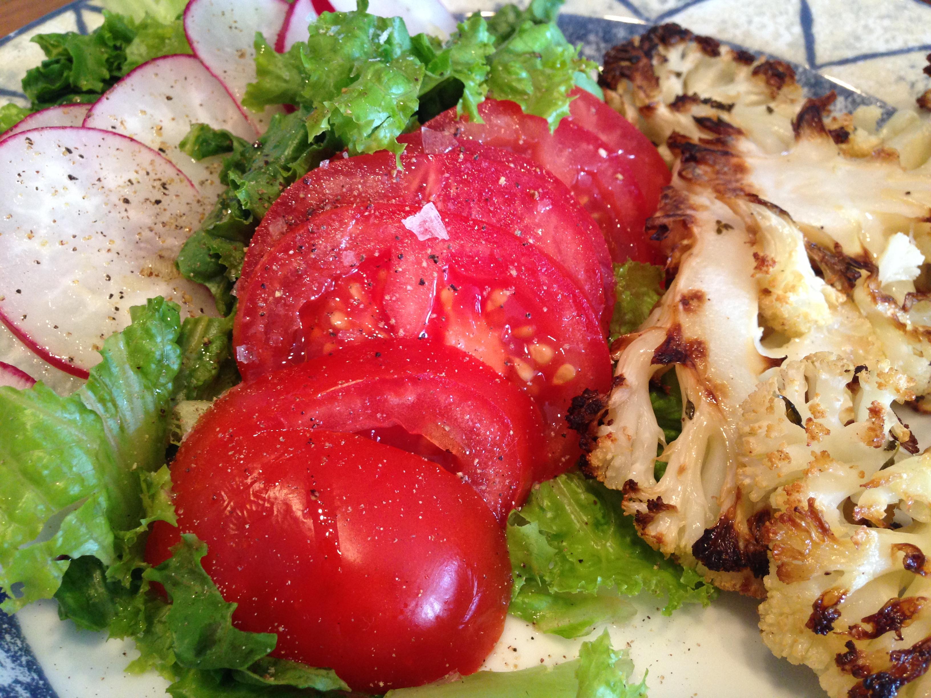 Tomato radish lettuce and roasted cauliflower