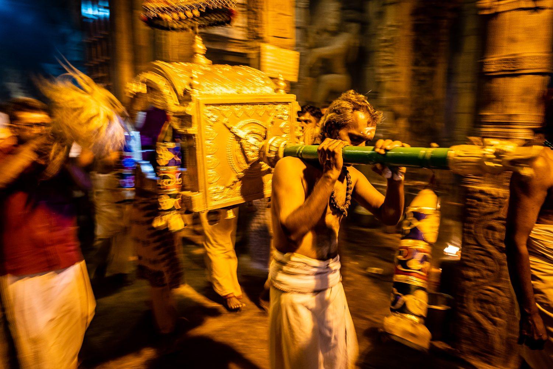 Night Puja at Brihadisvara Temple in Tamil Nadu India.