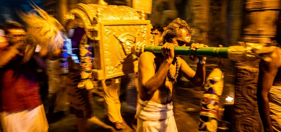 Night Puja at Brihadisvara Temple in Tamil Nadu India.