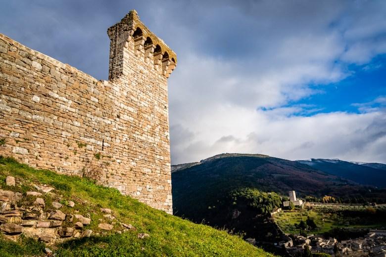 Rocca Maggiore Castle Wall Assisi Italy.