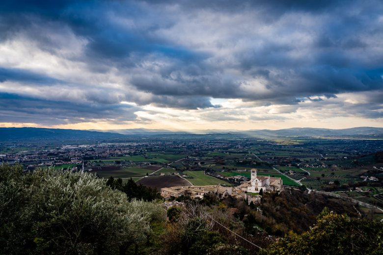 Assisi Italy As Seen from Rocca Maggiore Castle