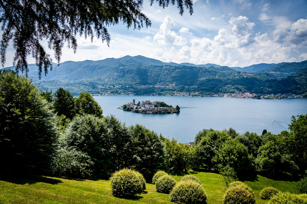 View of Isola San Giulio from Sacro Monte Lago d'Orta, Italy