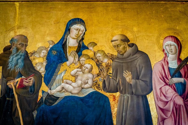 Pienza Italy Photos Cathedral Art Mary and Child