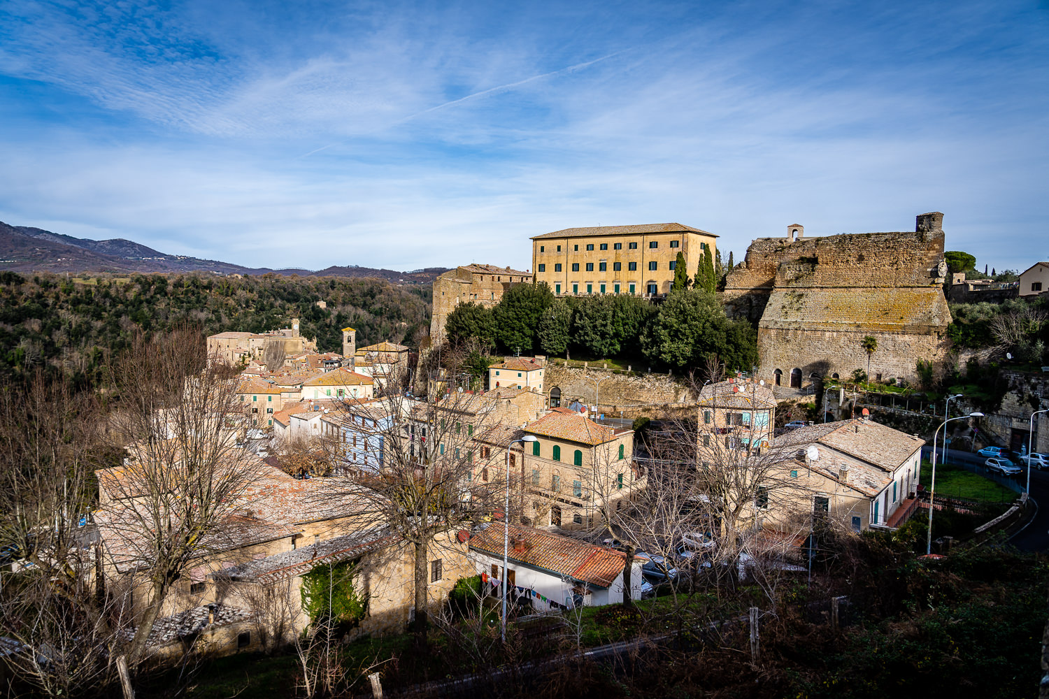 Town of Sorano, Italy as seen from Orsini Fortress