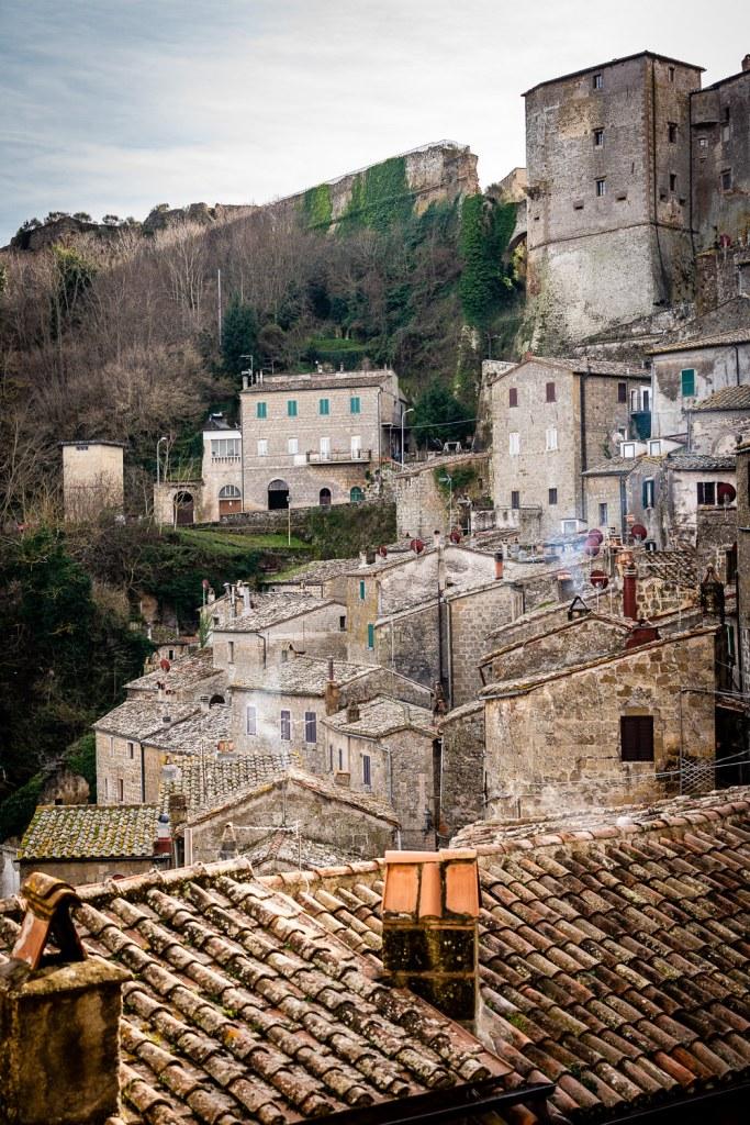 Walls of Orsini Fortress Over Sorano, Italy